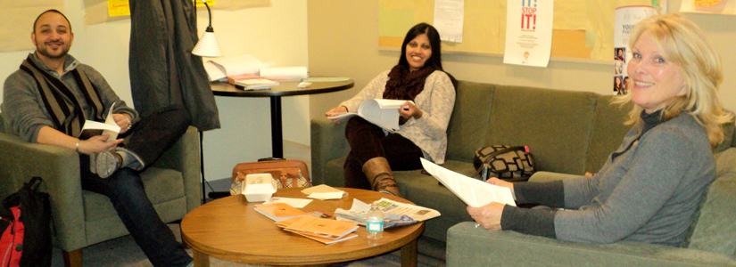 Graduate Social Work Students relaxing in a lounge